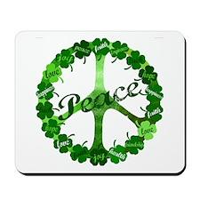 Irish Peace Love and Shamrocks Mousepad