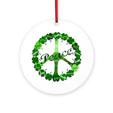 Irish Peace Love and Shamrocks Ornament (Round)