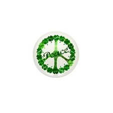 Irish Peace Love and Shamrocks Mini Button