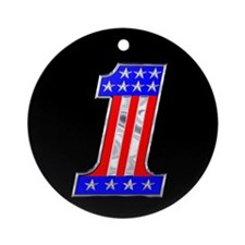 USA 1 VINTAGE CHROME EMBLEM Ornament (Round)