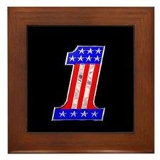 USA 1 VINTAGE CHROME EMBLEM Framed Tile