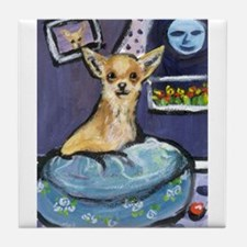 Chihuahua in Bed Tile Coaster