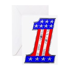 USA 1 VINTAGE CHROME EMBLEM Greeting Card