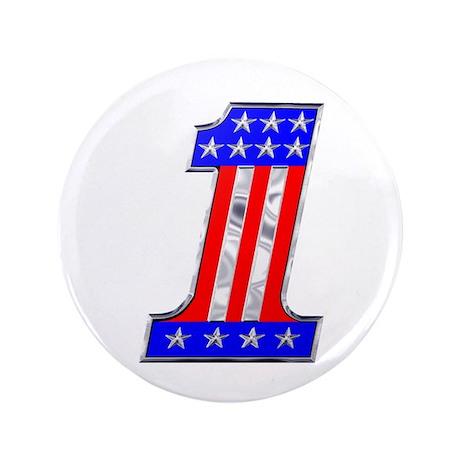 """USA 1 VINTAGE CHROME EMBLEM 3.5"""" Button"""