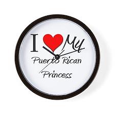 I Love My Puerto Rican Princess Wall Clock