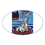 CANAAN DOG art Oval Sticker