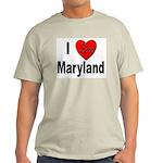 I Love Maryland (Front) Ash Grey T-Shirt