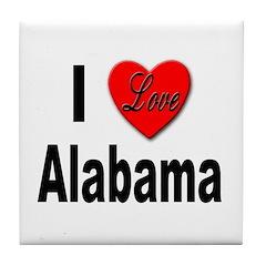 I Love Alabama Tile Coaster