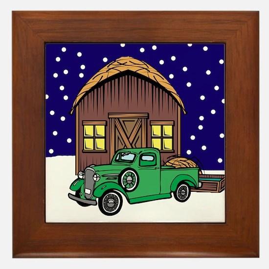 Barn and Classic Truck Christmas Framed Tile