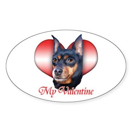 Min Pin Valentine Oval Sticker