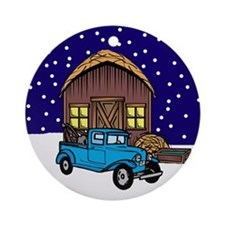 Barn & Vitnage Tow Truck Christmas Ornament (Round
