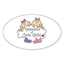 Grandma of Twin Girls Oval Decal