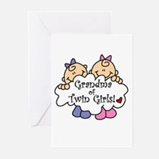 Grandma of Twin Girls Greeting Cards (Pk of 10)