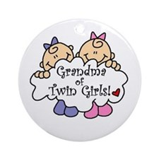 Grandma of Twin Girls Ornament (Round)