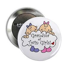 "Grandma of Twin Girls 2.25"" Button"