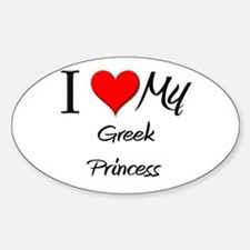 I Love My Greek Princess Oval Decal