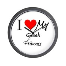 I Love My Greek Princess Wall Clock