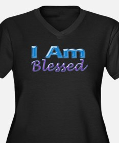I Am Blessed Women's Plus Size V-Neck Dark T-Shirt