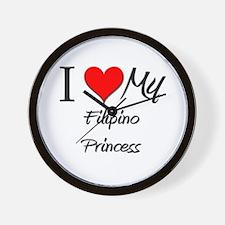 I Love My Filipino Princess Wall Clock