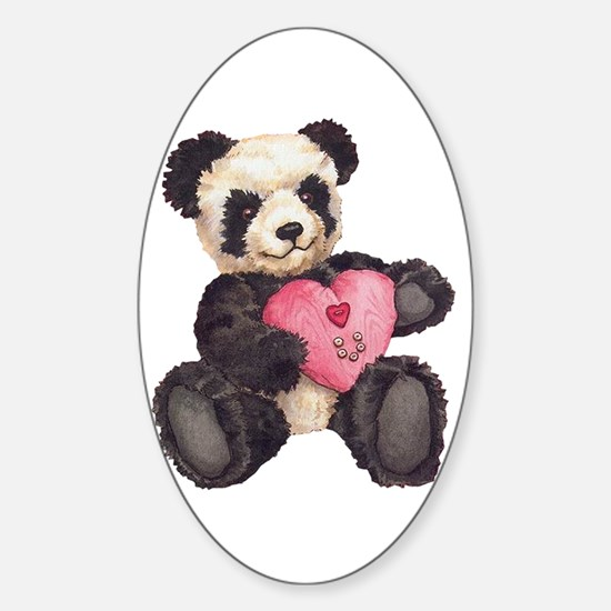 I Heart U Panda Oval Decal