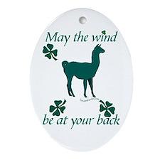 Llama & Shamrocks Oval Ornament