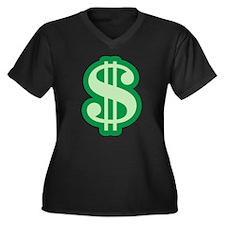 Dollar Sign Women's Plus Size V-Neck Dark T-Shirt