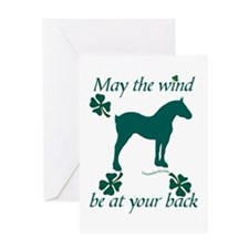 Draft Horse and Shamrocks Greeting Card