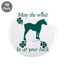 """Draft Horse and Shamrocks 3.5"""" Button (10 pack)"""