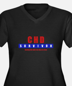 CHD SURVIVOR Women's Plus Size V-Neck Dark T-Shirt