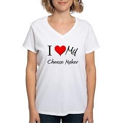 I Heart My Cheese Maker Women's V-Neck T-Shirt