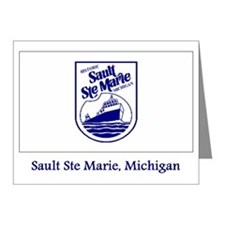 Sault Ste Marie MI Flag Note Cards (Pk of 20)