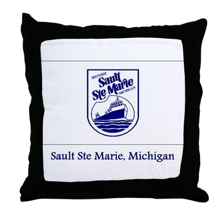 Sault Ste Marie MI Flag Throw Pillow