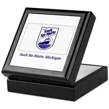 Sault Ste Marie MI Flag Keepsake Box