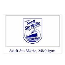 Sault Ste Marie MI Flag Postcards (Package of 8)