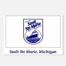 Sault Ste Marie MI Flag Postcards (Package of 8)