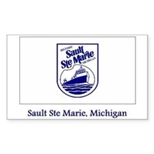 Sault Ste Marie MI Flag Rectangle Decal