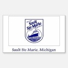 Sault Ste Marie MI Flag Rectangle Decal