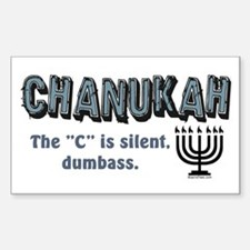 Chanukah The C Is Silent Rectangle Decal