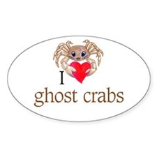 I heart ghost crabs Oval Decal
