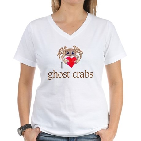 I heart ghost crabs Women's V-Neck T-Shirt