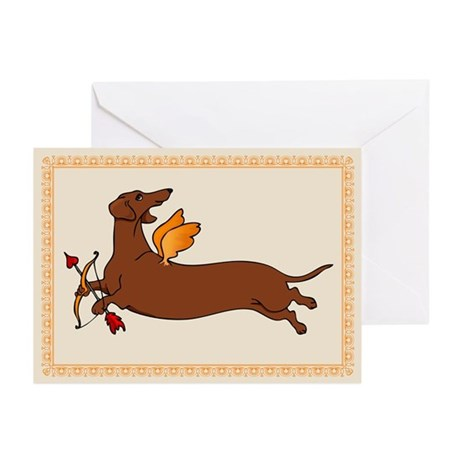 Weiner Dog Cupid Greeting Cards (Pk of 10)