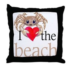 I heart the beach Throw Pillow