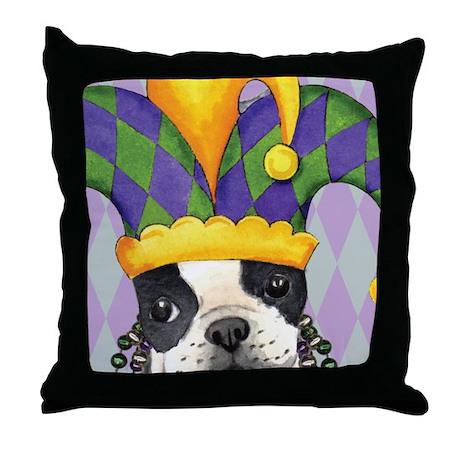 Party Boston Terrier Throw Pillow