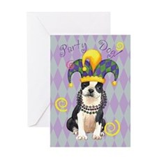 Party Boston Terrier Greeting Card