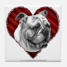 Bulldog Valentine Tile Coaster