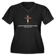 Jesus beat the devil with two sticks Women's Plus