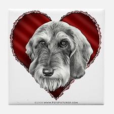 Wire-Haired Dachshund Valentine Tile Coaster