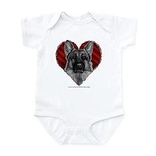 German Shepherd K9 Valentine Infant Bodysuit