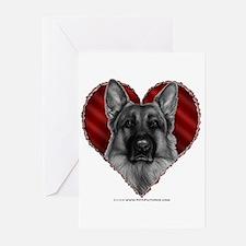 German Shepherd K9 Valentine Greeting Cards (Pk of