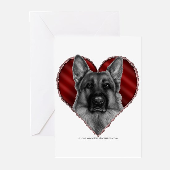 German Shepherd K9 Valentine Greeting Cards (Pk of